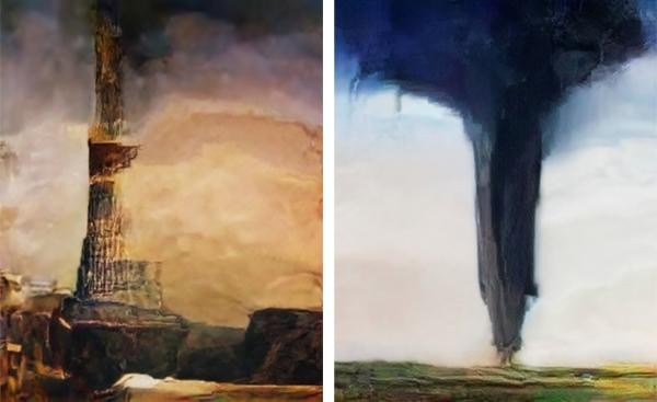 바벨탑 (코퍼스: 연옥의 영역) 대립적으로 진화한 환각, 2017(왼쪽), 토네이도 (코퍼스: 지옥의 영역) 대립적으로 진화한 환각, 2017(오른쪽)